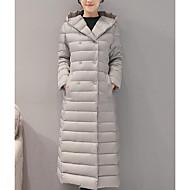 Langærmet Lang Dunjakke Damer Frakke,Simpel I-byen-tøj Ensfarvet-Polyester Polypropylen