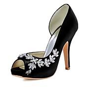 お買い得  レディースハイヒール-女性用 靴 シルク 春 夏 ベーシックサンダル ヒール スティレットヒール オープントゥ オープントゥ/ピープトウ ラウンドトウ ラインストーン のために 結婚式 パーティー ホワイト ブラック ベージュ パープル ピンク