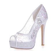 billige -0.6-Dame Sko Blonder Vår Sommer Basispumps bryllup sko Stiletthæl Titte Tå til Bryllup Fest/aften Hvit Rød Blå Rosa Krystall