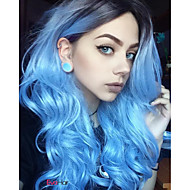 New Long Teal Blue Fashion Black to Blue Ombre Hair Natural Looking Popular Design Body Wave Synthetic Wigs Heat Resistant