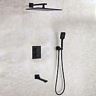 זול ברזים למקלחת-עכשווי מודרני / עכשווי מותקן על הקיר מקלחת גשם תרמוסטטי שסתום קרמי שתי ידיות ארבעה חורים שחור , ברז למקלחת