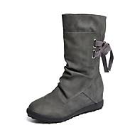 preiswerte -Damen Schuhe Kunstleder Winter Herbst Modische Stiefel Stiefel Niedriger Heel Runde Zehe Booties / Stiefeletten Seiten-drapiert Für Normal