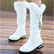 Girls' Shoes Cowhide Fall Winter Comfort Snow Boots Boots For Casual Red Black White
