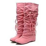 Feminino Sapatos Borracha Pele Nobuck Tecido Inverno Outono Botas da Moda botas de desleixo Solados com Luzes Forro de fluff Botas