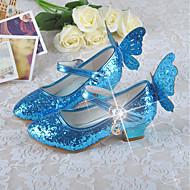 Mädchen Schuhe PU Frühling Herbst Schuhe für das Blumenmädchen Tiny Heels für Teens High Heels Für Normal Gold Silber Blau Rosa