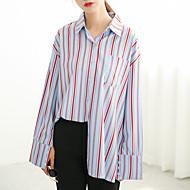 Feminino Camisa Social Casual Moda de Rua Listrado Algodão Colarinho de Camisa Manga Longa