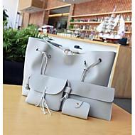 Damen Taschen PU Bag Set 4 Stück Geldbörse Set Reißverschluss für Normal Alle Jahreszeiten Rote Rosa Hell Gray Braun Dunkelgrau