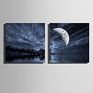 E-HOME® Stretched LED Canvas Print Art Lake Sky LED Flashing Optical Fiber Print Set of 2