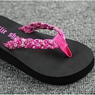 baratos Sapatos Femininos-Mulheres Sapatos EVA / Pele Verão Conforto Chinelos e flip-flops Preto / Vermelho
