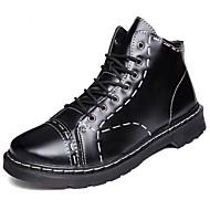 Homens sapatos Couro Ecológico Primavera Outono Solados com Luzes Botas para Casual Preto Marron