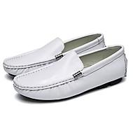 男性用 靴 レザー 春 秋 モカシン ローファー&スリップアドオン のために カジュアル ホワイト ブラック ダークブルー バーガンディー