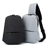 Man Tassen Alle seizoenen Canvas Imitatieleer Sling Shoulder Bag Rits voor Causaal Zwart Lichtgrijs
