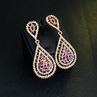 Dame Kvadratisk Zirconium Dråbeøreringe - Guldbelagt, Simuleret diamant Dråbe Klassisk, Elegant Guld Til Bryllup Aftenselskab