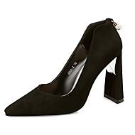 お買い得  レディースハイヒール-女性用 靴 繊維 春 秋 アイデア ヒール ポインテッドトゥ ラインストーン パール のために ドレスシューズ パーティー ブラック レッド ブルー カーキ色