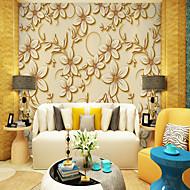 billige Tapet-Trær / Blader Art Deco 3D Hjem Dekor Moderne كلاسيكي Rustikk Tapetsering, Lerret Materiale selvklebende nødvendig Veggmaleri, Tapet