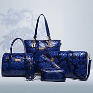 Naisten Kassit Kaikki vuodenajat PU Bag setit 6 kpl kukkaro setti varten Shoppailu Kausaliteetti Muodollinen Beesi Punainen Sininen