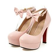 Žene Cipele PU Proljeće Jesen Inovativne cipele Udobne cipele Cipele na petu Štiklu Okrugli Toe Mašnica za Vjenčanje Zabava i večer Crn