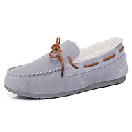 レディース 靴 ヌバックレザー 春 秋 コンフォートシューズ ボート用シューズ フラットヒール のために カジュアル グレー パープル レッド ピンク ダークブラウン