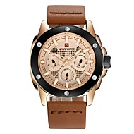 Men's Wrist Watch Swiss Genuine Leather Black / Orange / Brown Water Resistant / Waterproof Calendar / date / day Chronograph Analog Luxury Classic Fashion Elegant Christmas - Silver Brown Black