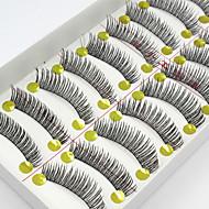 10 Eyelashes lash Full Strip Lashes Eyelash Natural Long The End Is Longer Natural Handmade Fiber Black Band 0.07mm