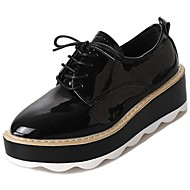 cheap Women's Oxfords-Women's Shoes PU Patent Leather Spring Fall Comfort Oxfords High Heel Round Toe for Casual Wine Black