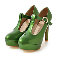 tanie Small Size Shoes-Damskie Obuwie PU Wiosna Lato Comfort Zabawne Szpilki Szpilka Pointed Toe Klamra na Ślub Impreza / bankiet White Orange Green Różowy