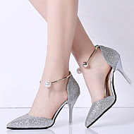 cheap Women's Heels-Women's Shoes PU Summer Comfort Sandals Walking Shoes Stiletto Heel Pointed Toe for Outdoor Gold Black Silver