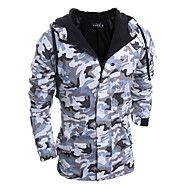 Men's Daily / Sports / Weekend Camouflage Long Padded, Rayon Long Sleeve Army Green / Light gray L / XL / XXL