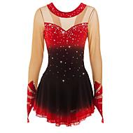Vestidos para Patinação Artística Mulheres / Para Meninas Patinação no Gelo Vestidos Preto / Vermelho / Vermelho + preto Detalhes e Estampas Elastano Elasticidade Alta Competição Roupa para Patinação