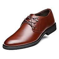 tanie Small Size Shoes-Męskie Buty Skóra Wiosna Jesień Comfort Oksfordki na Biuro i kariera Impreza / bankiet Black Brown