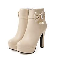 billige Sko i Store Størrelser-Dame Sko PU Vår / Høst Komfort / Original / Trendy støvler Støvler Høy Hæl Spisstå Ankelstøvler Sløyfe / Perle / Nagle Svart / Beige /