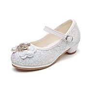 baratos Sapatos de Menina-Para Meninas Sapatos Gliter Primavera Verão Conforto / Sapatos para Daminhas de Honra / Salto minúsculos para Adolescentes Saltos Pedrarias / Laço / Velcro para Prata / Rosa claro / Azul Claro