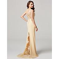 Χαμηλού Κόστους -Τρομπέτα / Γοργόνα Λαιμόκοψη V Ουρά Sheer Lace Ζέρσεϊ Επίσημο Βραδινό Φόρεμα με Κουμπί Δαντέλα Με Άνοιγμα Μπροστά με TS Couture®
