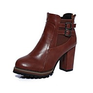 cheap -Women's Shoes Leatherette Fall / Winter Fashion Boots Boots Chunky Heel Round Toe Booties / Ankle Boots Black / Brown / Party & Evening
