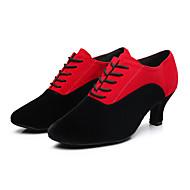 baratos Sapatilhas de Dança-Mulheres Sapatos de Dança Moderna Courino Têni Adorno Salto Robusto Personalizável Sapatos de Dança Preto / Preto / Vermelho