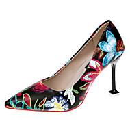 Femme Chaussures Polyuréthane Printemps Eté Confort Nouveauté Chaussures à Talons Talon Aiguille Bout pointu Bout rond Fleur en Satin pour