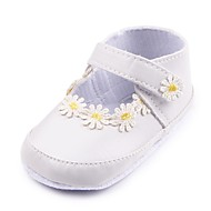 cheap Baby Shoes-Baby Shoes Leatherette Spring Fall Crib Shoes First Walkers Comfort Flats Appliques Magic Tape for Party & Evening Dress White Black