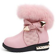 Para Meninas sapatos Pele Inverno Outono Conforto Botas de Neve Botas Caminhada Botas Cano Médio Laço para Casual Preto Rosa claro
