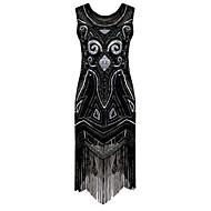 Gatsby le magnifique Rétro / Années 20 Costume Femme Costume de Soirée / Robe à clapet / Robe de cocktail Noir Vintage Cosplay Paillette Sans Manches Accueil froid Mi-long Déguisement d'Halloween
