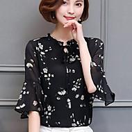 Mulheres Blusa - Para Noite Moda de Rua Floral Colarinho Chinês / Primavera / Verão / luva do alargamento