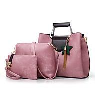 Χαμηλού Κόστους Σετ τσάντες-Γυναικεία Τσάντες PU Σετ τσάντα 3 σετ Σετ τσαντών Φερμουάρ / Φούντα / Λουλούδι Ανθισμένο Ροζ / Γκρίζο / Καφέ