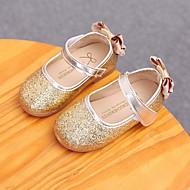 お買い得  フラワーガールシューズ-女の子 靴 レザーレット 秋 フラワーガールシューズ フラット リボン のために カジュアル ゴールド シルバー ピンク