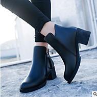 Kadın's Ayakkabı PU Kış Rahat Çizmeler Kalın Topuk Sivri Uçlu / Kapalı Burun Bootiler / Bilek Botları Günlük için Siyah / Kırmzı