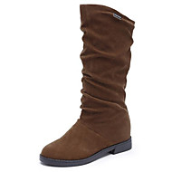cheap -Women's Nubuck leather Winter Snow Boots Boots Low Heel Mid-Calf Boots Black / Brown / Wine
