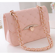 cheap Bags-Women's Bags PU Crossbody Bag Buttons for Casual All Seasons Black Blushing Pink Beige Purple Fuchsia