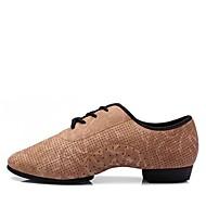 baratos Sapatilhas de Dança-Mulheres Sapatos de Jazz Pele Napa Salto / Meia Solas Sem Salto Personalizável Sapatos de Dança Marron