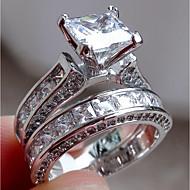 Dames Diamant Kubieke Zirkonia Synthetische Diamant patiencespel Emerald Cut HALO Verlovingsring Belle Ring Roestvast staal Dames Ongewoon Uniek ontwerp Modieus Elegant Bling bling Modieuze ringen