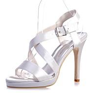 Mujer Zapatos Satén Primavera / Verano Pump Básico Sandalias Tacón Stiletto Puntera abierta Hebilla Plateado / Azul / Marfil / Boda