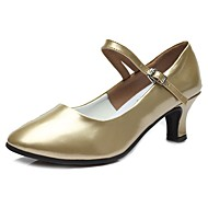 baratos Sapatilhas de Dança-Mulheres Sapatos de Dança Moderna TPU / Couro Envernizado Salto Salto Cubano Personalizável Sapatos de Dança Dourado / Ensaio / Prática