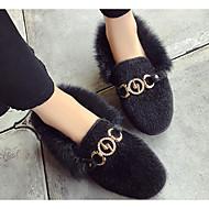 זול מוקסינים לנשים-נשים נעליים פרווה חורף סתיו נוחות נעליים ללא שרוכים הליכה שטוח בוהן עגולה נוצות אבזם ל קזו'אל שחור חאקי
